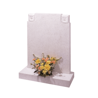 Square Top Headstone With Roses