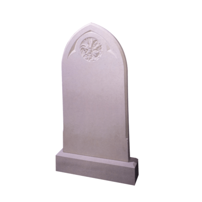 Gothic Top Headstone With Circle Of Roses