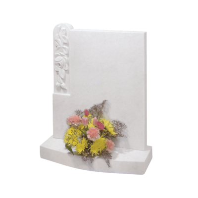 Headstone With Inset Rosebud & Leaves