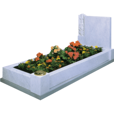 Headstone With Cross, Roses & Kerbs