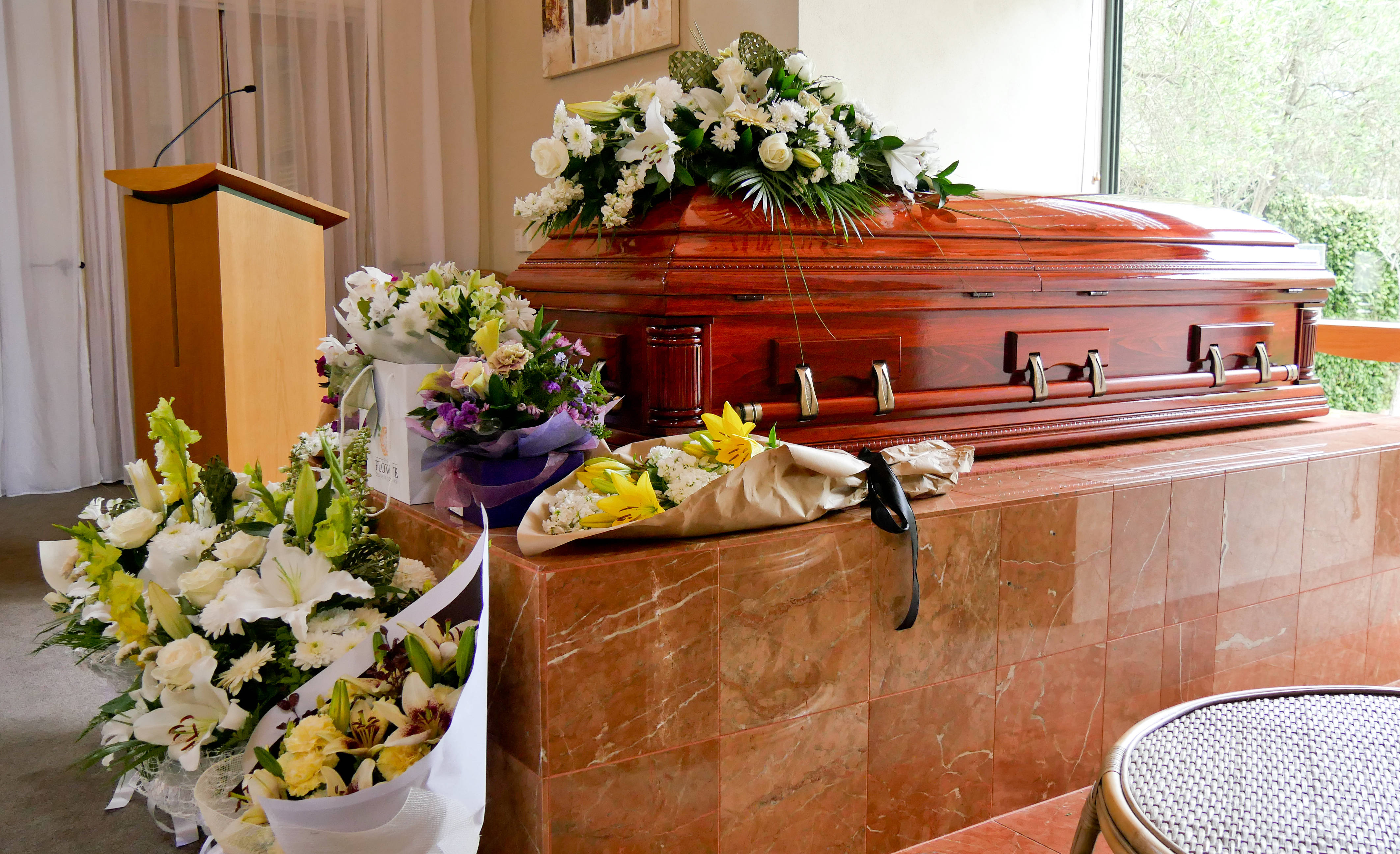 Flowers with a coffin
