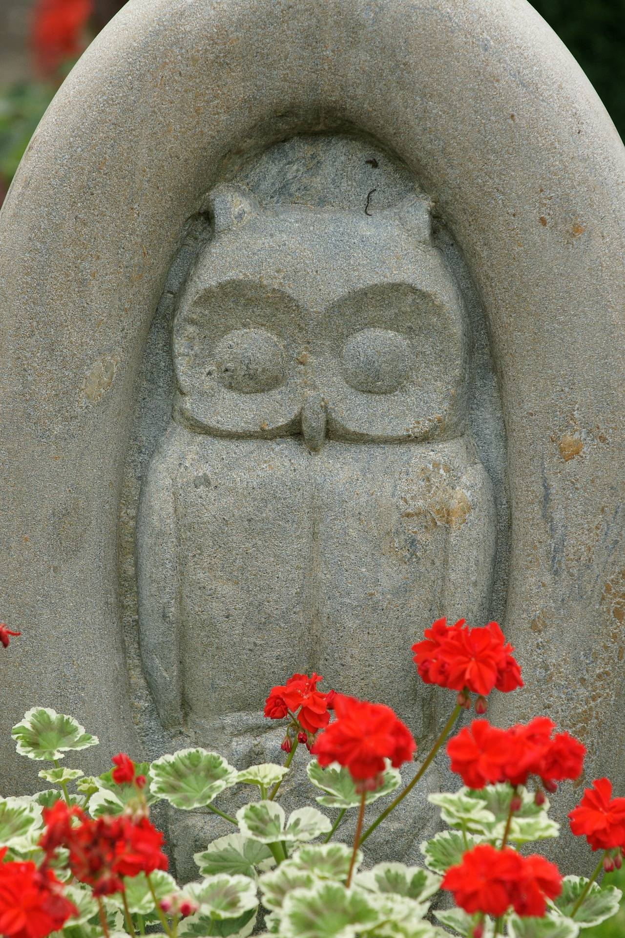 carved owl on headstone