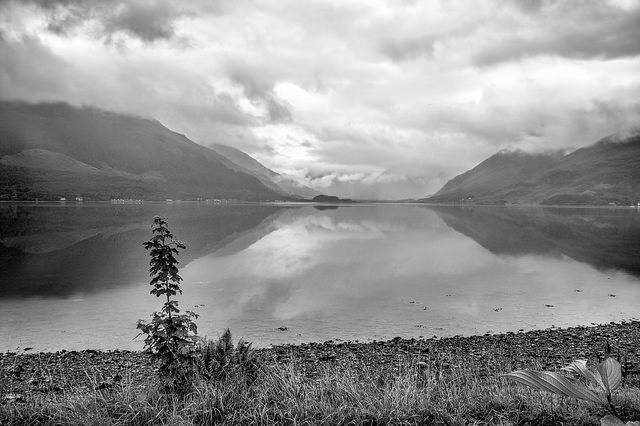 Black and white image of loch