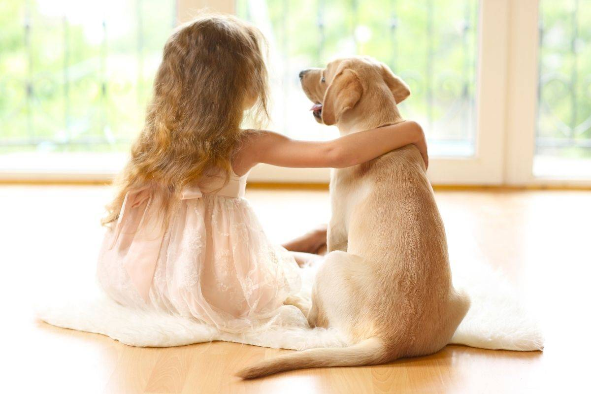 Girl sat with Labrador on floor