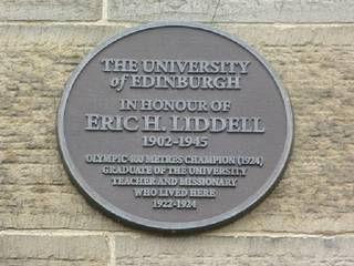 Plaque commemorating Eric Liddell's home