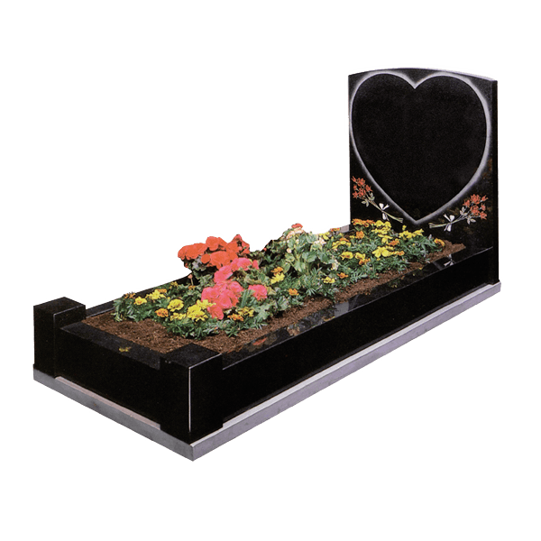 Headstone With Shaded Heart & Kerbs