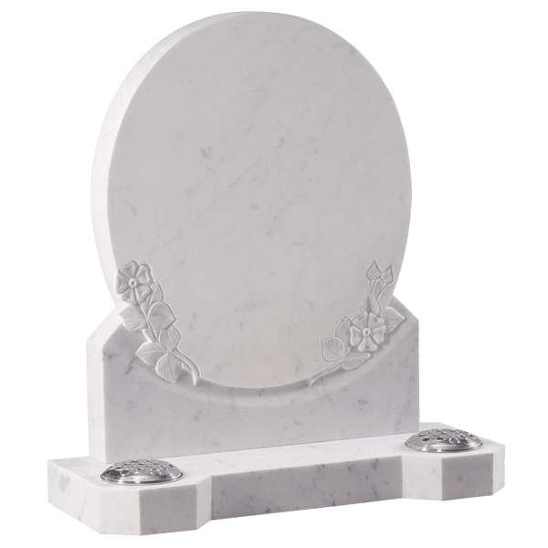 Oval Shaped Headstone With Roses