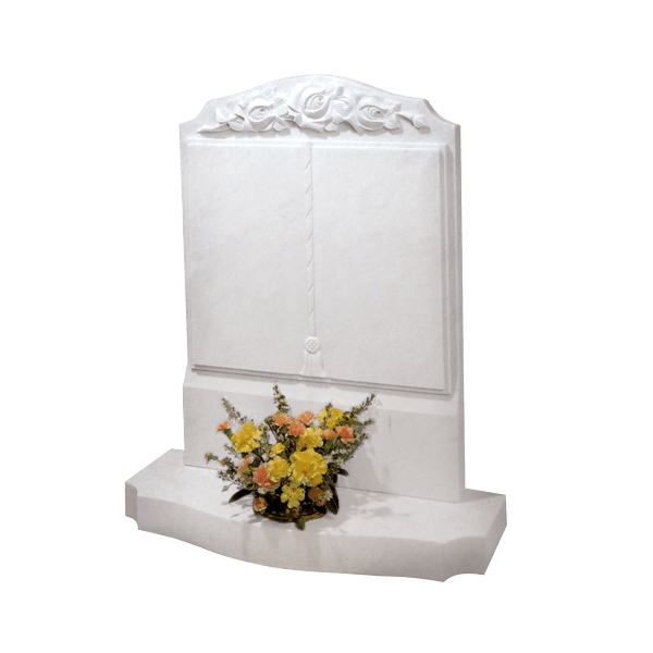Upright Book Headstone Wirth Roses