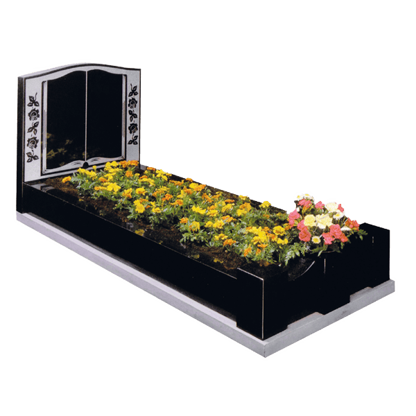 Book & Rose Design Headstone With Kerbs