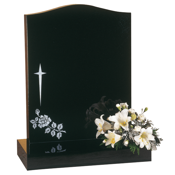 Headstone With Star Cross & Rose Design
