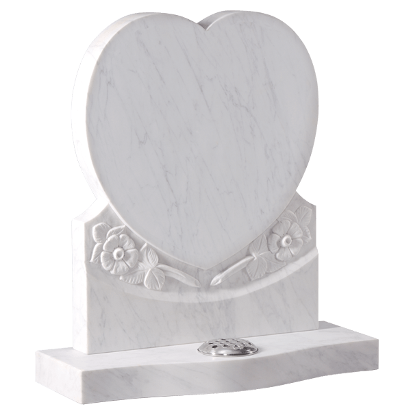 Heart Headstone With Carved Wild Roses