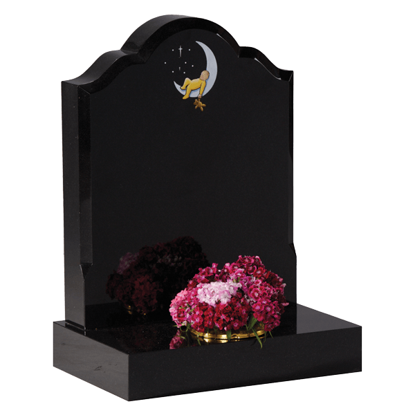 Headstone With Moon & Baby Design
