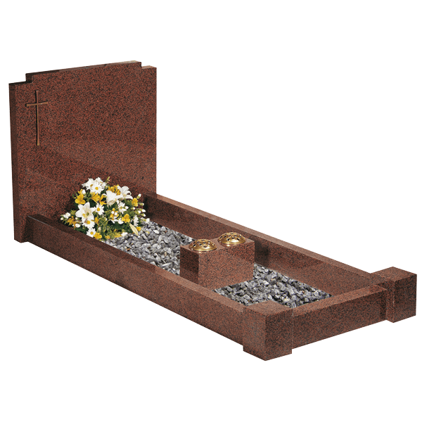 Checked Corner Headstone With Kerbs