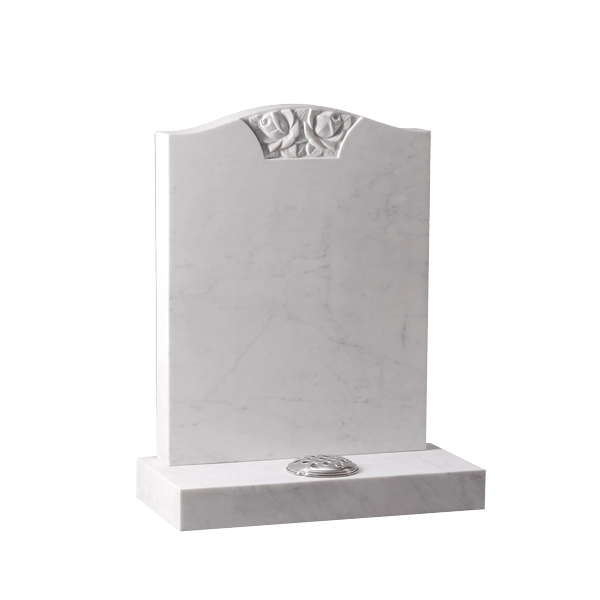 Headstone With Hand Carved Rose Panel