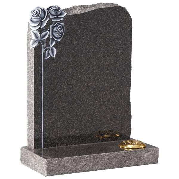 Shaped Headstone With Carved Roses