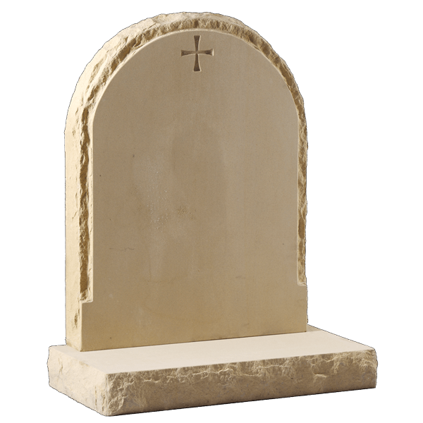 Rounded Headstone With Sandblast Cross