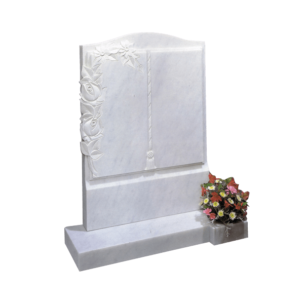 Upright Book Headstone & Roses