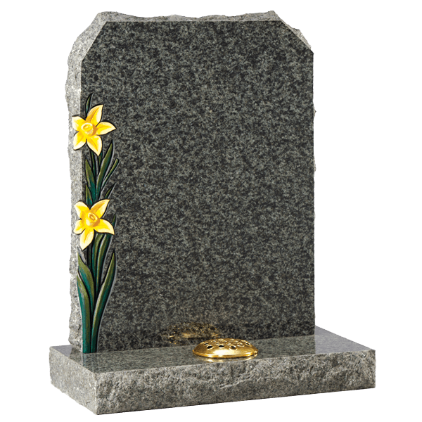 Rustic Headstone With Daffodils Design