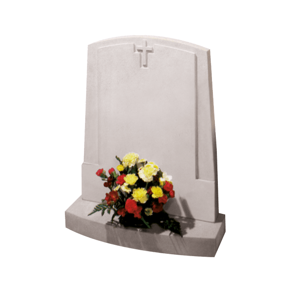 Arch Top Headstone With Cross