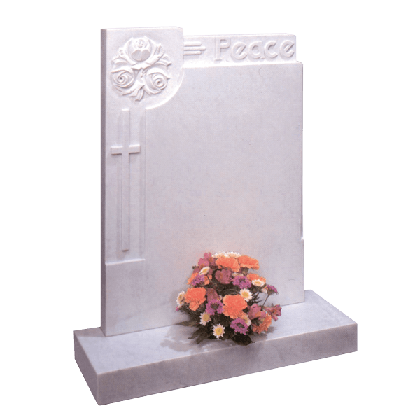 Headstone With Roses, Cross & 'Peace'