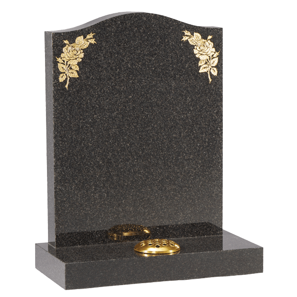 Headstone With Gold Roses