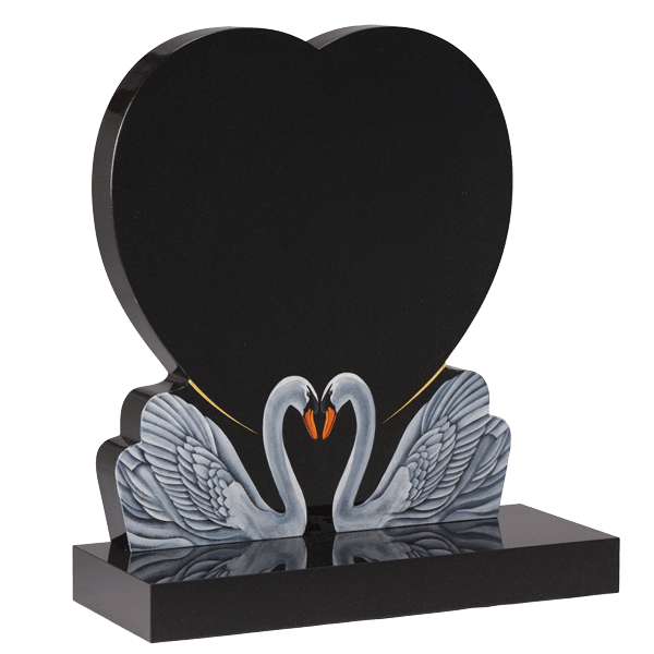 Heart Headstone With Swans