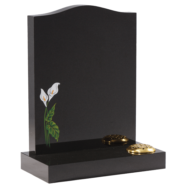 Headstone With Hand Painted Lily