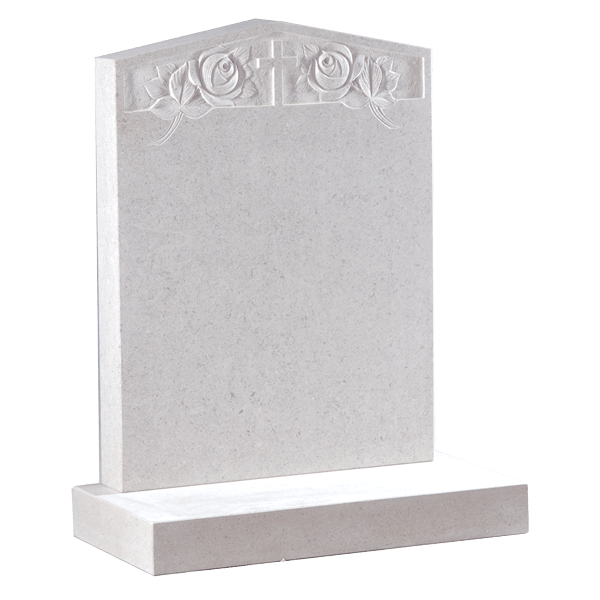 Peon Top Headstone With Cross & Rose