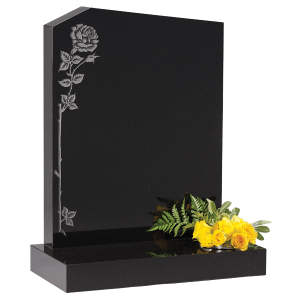 Headstone With Climbing Rose Design